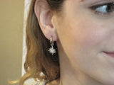 18K White Gold Diamond Starburst Earring Charms