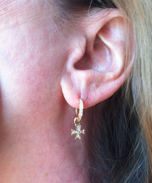 18K Yellow Gold Diamond Maltese Cross Earring Charms