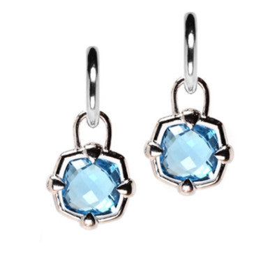 Sterling Silver Blue Topaz Checkerboard Hoop Earring Charms