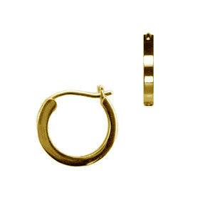Small 18k Yellow Gold Thick Hoop Earrings Smooth finish