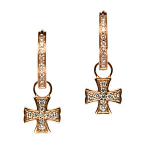 18K Rose Gold Diamond Maltese Cross Hoop Earring Charms