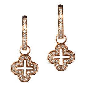 18K Rose Gold Diamond Open Cross Hoop Earring Charms