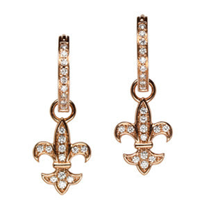 18K Rose Gold Diamond Fleur de lis Earring Charms - LooptyHoops