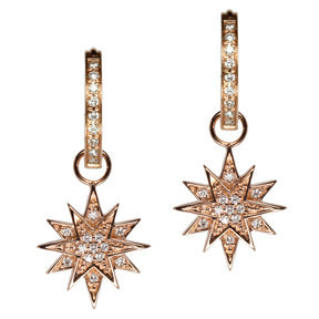 18K Rose Gold Diamond Starburst Hoop Earring Charms