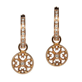 18K Rose Gold Diamond Filigree Disc Hoop Earring Charms