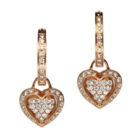 18K Rose Gold Diamond Puffed Heart Hoop Earring Charms