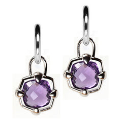 Sterling Silver Amethyst Checkerboard Hoop Earring Charms