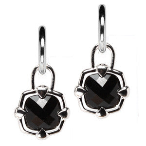 Sterling Silver Black Onyx Checkerboard Earring Charms - LooptyHoops