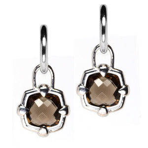 Sterling Silver Smoky Quartz Checkerboard Hoop Earring Charms