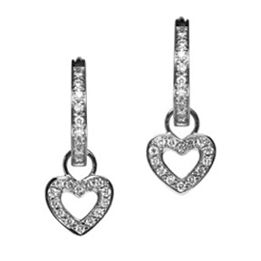18K White Gold Classic Diamond Heart Hoop Earring Charms