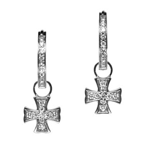 18K White Gold Diamond Maltese Cross Hoop Earring Charms