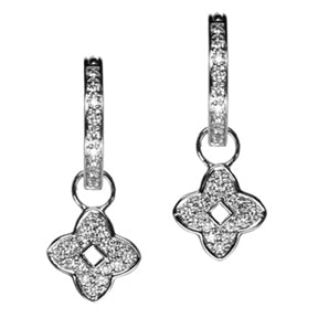18K White Gold Diamond Good Luck Hoop Earring Charms