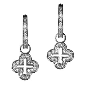 18K White Gold Diamond Open Cross Hoop Earring Charms