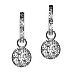18K White Gold Round Diamond Hoop Earring Charms