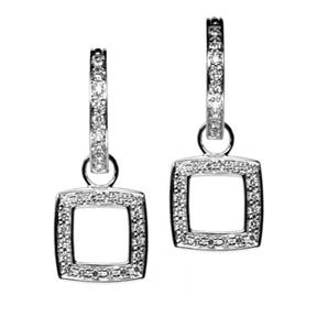 18K White Gold Diamond Cushion Cut Square Hoop Earring Charms