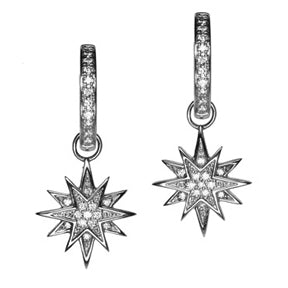 18K White Gold Diamond Starburst Hoop Earring Charms