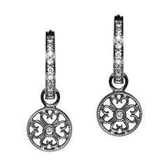18K White Gold Diamond Filigree Disc Hoop Earring Charms