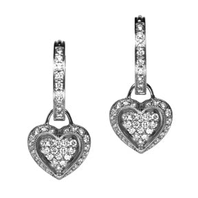 18K White Gold Diamond Puffed Heart Hoop Earring Charms
