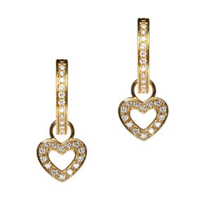18K Yellow Gold Classic Diamond Heart Hoop Earring Charms