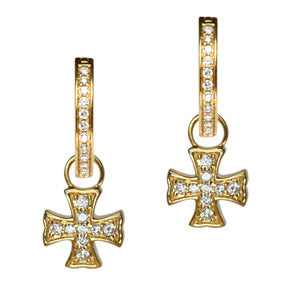 18K Yellow Gold Diamond Maltese Cross Earring Charms - LooptyHoops