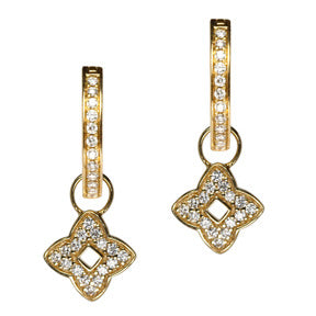 18K Yellow Gold Diamond Good Luck Hoop Earring Charms