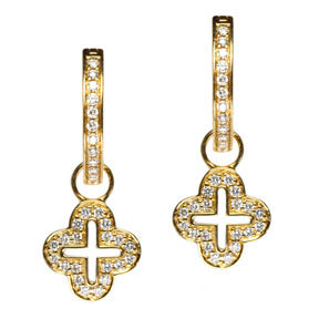 18K Yellow Gold Diamond Open Cross Hoop Earring Charms