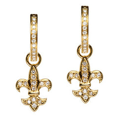18K Yellow Gold Diamond Fleur de lis Hoop Earring Charms