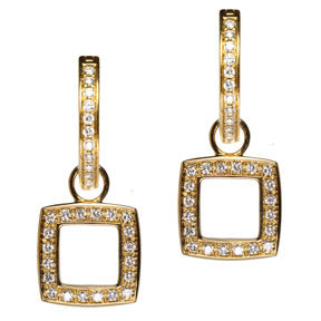 18K Yellow Gold Diamond Cushion Cut Square Hoop Earring Charms
