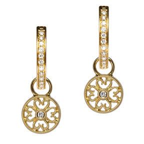 18K Yellow Gold Diamond Filigree Disc Hoop Earring Charms