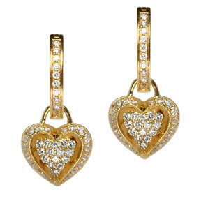 18K Yellow Gold Diamond Puffed Heart Hoop Earring Charms