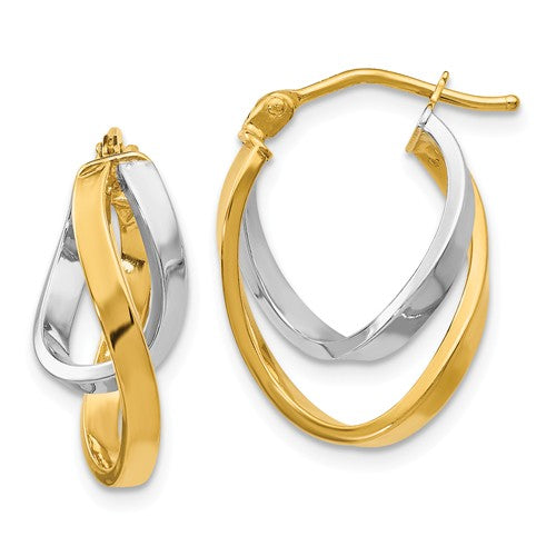 14k White & Yellow Gold Twisting Intertwined Double Hoop Earrings, 17mm - LooptyHoops
