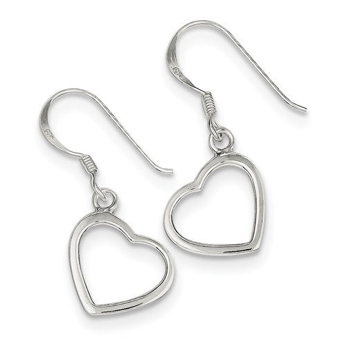 Sterling silver heart shaped dangle earrings with hook clasp