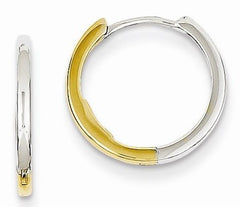 Small Two Tone 14K Gold Hinged Huggie Hoop Earrings