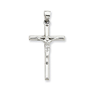Large White Gold Crucifix Cross Pendant 1.5 inches