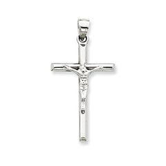 Large 14K White Gold Crucifix Cross Pendant