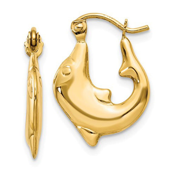 14k yellow gold dolphin shaped earring with click-down clasp