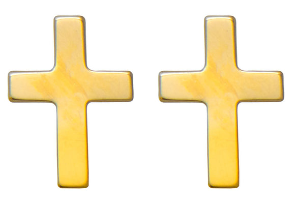 Tiny 14K Yellow Gold Children's Cross Stud Earrings, 15mm x 6mm