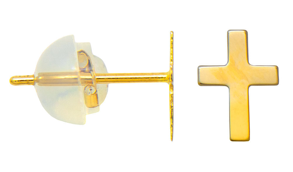 Tiny 14K Yellow Gold Children's Cross Stud Earrings, 15mm x 6mm - LooptyHoops