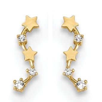 14k yellow gold post-back earrings with CZ gemstones & gold stars.