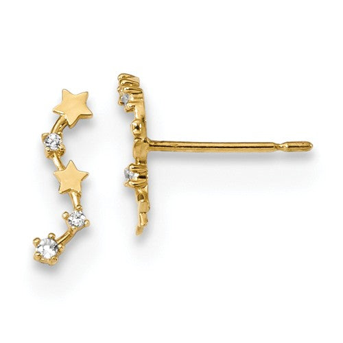 14k Yellow Gold CZ & Stars Ear-Climber Earrings, 10mm
