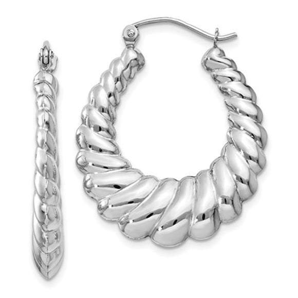 14k white gold scalloped oval hoop earrings with click-down clasp