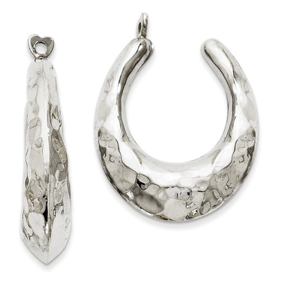 14k white gold hammered oval hoop earring jackets