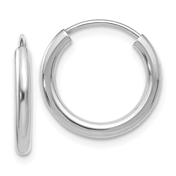 14k white gold Shiny Hoop Earrings with endless clasp