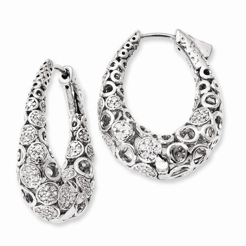 Sterling silver CZ patterned oval hoop earrings with rhodium plating and locking hinged closure