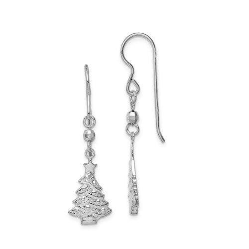 Sterling silver rhodium-plated Christmas tree dangle earrings with hook clasp