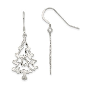 Sterling silver diamond-cut Christmas tree dangle earrings with hook clasp