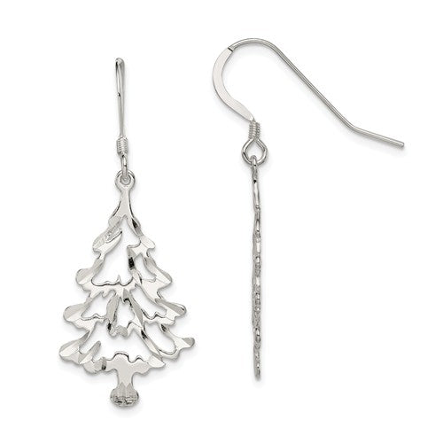 Sterling Silver Diamond-Cut Christmas Tree Dangling Earrings, 45mm