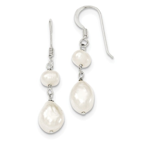 Dangle earrings with two pearls hanging from sterling silver wire hook
