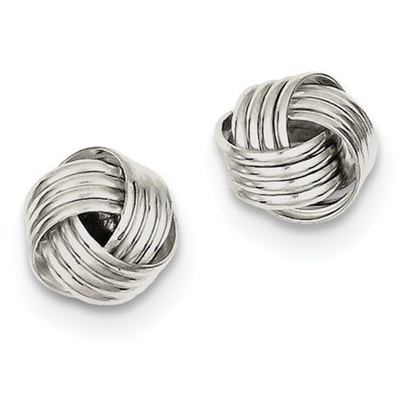 Small Sterling Silver Classic Love Knot Post Stud Earrings, .40 In (10mm) - LooptyHoops