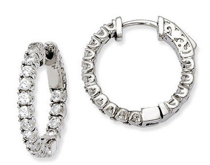 Sterling Silver Inside/Outside Cubic Zirconia Hinged Hoop Earrings with hinged post closure